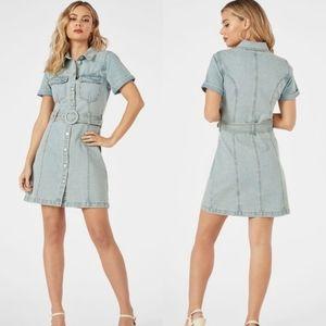 Denim Button Front Dress in Joann Light Wash